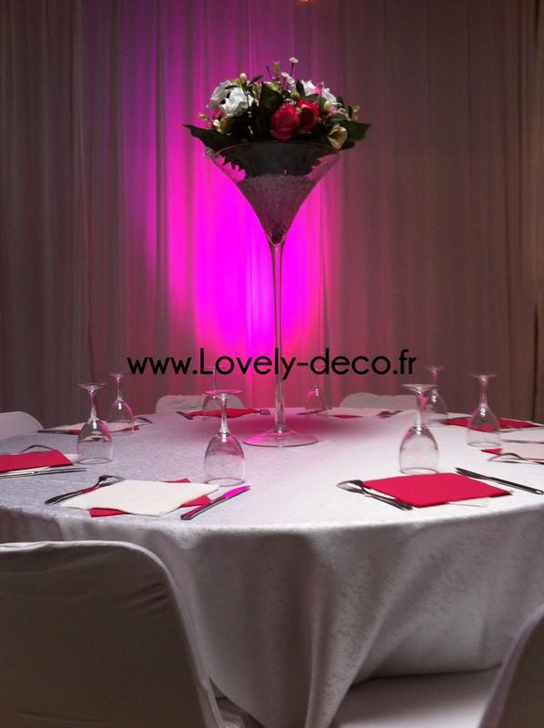 Vase martini pour mariage for Centre de table lumineux
